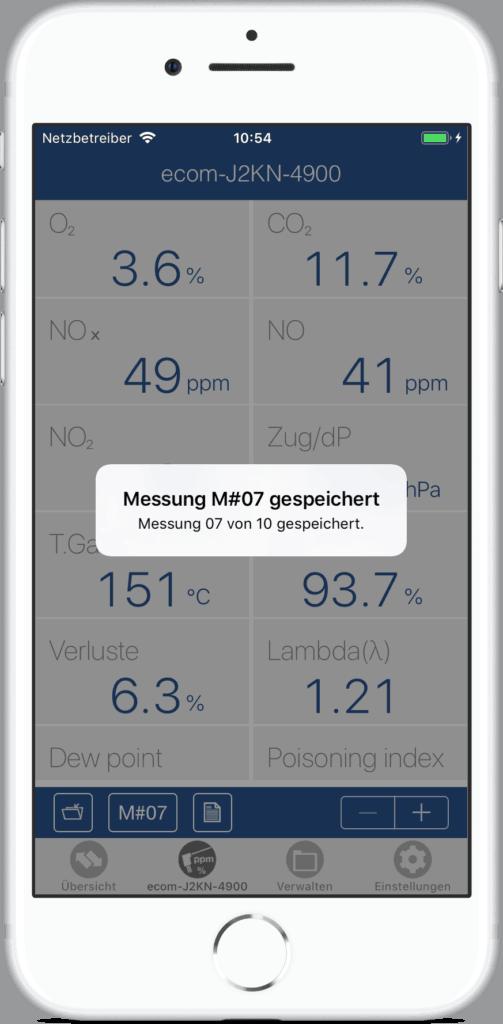 ecommander App Mehrfachmessung Beispiel Anzeige