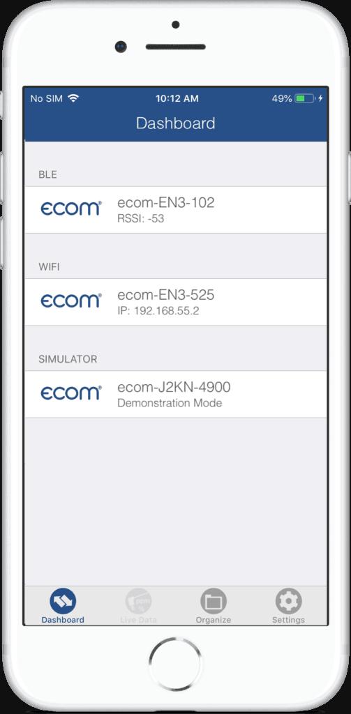 ecommander App gekoppelte Geräte Beispiel Display