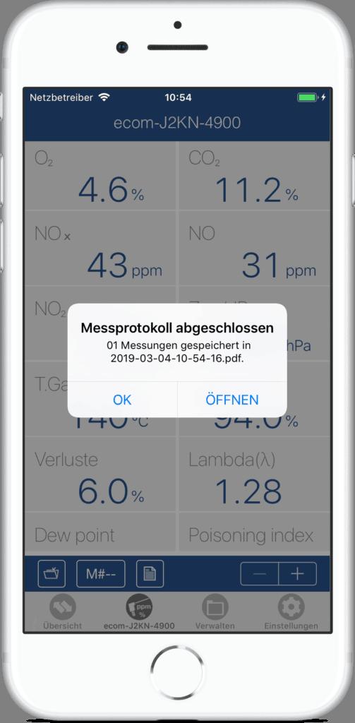 ecommander App Messung gespeichert Beispiel Anzeige