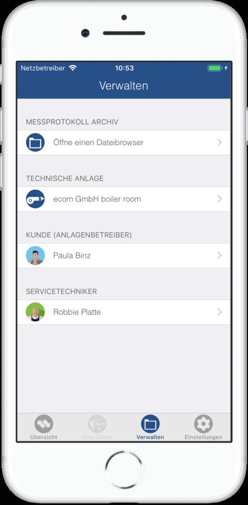 ecommander App Verwaltung von Firmen- und Kundendaten Beispiel Anzeige